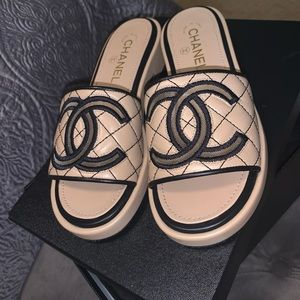 Chanel CC Lambskin beige quilted mules